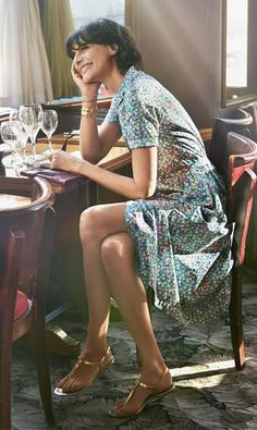 Sophisticated french style cotton lawn dress