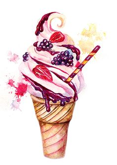 accessories illustration Vintage watercolor illustrations of ice cream with different berries and accessories Dessert Illustration, Watercolor Illustration, Ice Cream Illustration, Watercolor Food, Watercolor Paintings, Watercolor Artists, Abstract Paintings, Oil Paintings, Landscape Paintings