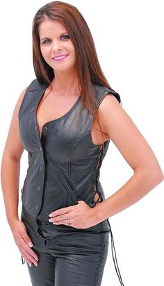 Long Leather Vest for Women with Side Lacing
