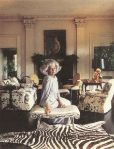 "Nancy Buck ""Princess"" Pyne in her Albert Hadley-designed living room  at Cherryfields, c. 1962. The chairs are covered in a chintz recently  reinterpreted by Schumacher - ""Pyne Hollyhock."""