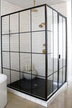 Black Shower Enclosure - Design photos, ideas and inspiration. Amazing gallery of interior design and decorating ideas of Black Shower Enclosure in bathrooms by elite interior designers. Bad Inspiration, Bathroom Inspiration, Wedding Inspiration, Bathroom Renos, Master Bathroom, Bathroom Ideas, Bathroom Designs, Bathroom Vanities, Bathroom Goals