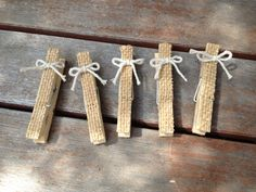 5 Burlap Clothespins for a Wedding, Wedding Shower, Baby Shower or for a Child's Room. $4.00, via Etsy.