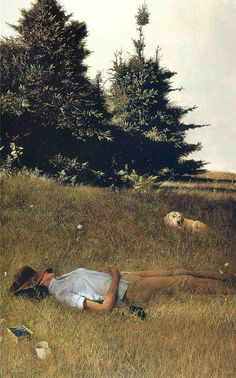 distant thunder ~ andrew wyeth  That is Betsy, his wife, lying in the grass.