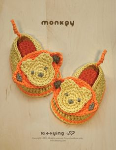 Monkey Baby Booties Crochet PATTERN Kittying Crochet Pattern by kittying.com from mulu.us  This pattern includes sizes for 0 - 12 months.
