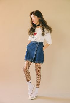Denim Faux Wrap Miniskirt | STYLENANDA