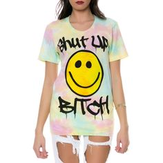 MYVL The Shut Up Bitch Tee in Tie Dye ($54) ❤ liked on Polyvore featuring tops, t-shirts, shirts, tie dye, crew neck t shirt, tye dye t shirts, short sleeve shirts, graphic tees and tie dyed shirts