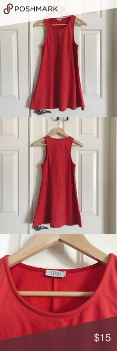 """Tobi Red Tank Dress 100% cotton Tobi """"Where Did You Go"""" tank top dress in red. Gently used. Tobi Dresses"""