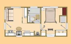 """Floor Plan view of Cozy's 300 sq ft plan I'm calling the """"Kit & Caboodle""""."""