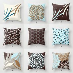 Blue and Brown Pillows, Blue Pillow Cover, Brown Throw Pillow, Blue and White Pillows, Taupe Pillows, Decorative Pillows, Designer Pillows