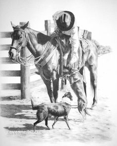 """Welcome Home"" by Sheri Greves-Neilson. One of the judges at the 2011 Red Bluff Wester n Art Show! Greyscale Colour, Western Artists, Western Photo, Red Bluff, Horse Anatomy, Cowboy Art, Horse Drawings, Unusual Art, Horse Photos"