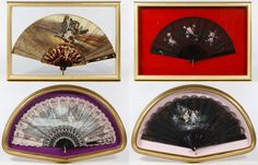 """Lot 157: Hand Painted and Printed Framed Fan Assortment; Four framed items including a black lace fan with a hand painted image of an 18th century style couple signed """"Mily"""" lower right, a Spanish pink lace fan with printed fabric image, a black lace fan with painted roses and a two sided fan with a carriage picnic painted image by M. Panells"""