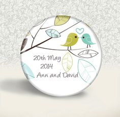 Wedding favour personalised magnet  20 Blue Bird by BadgeBliss