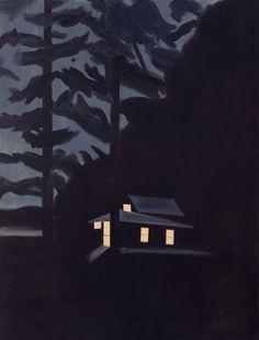Alex Katz (American, b. Night House, 2013 Oil on linen Illustrations, Illustration Art, Alex Katz, American, Arte Pop, Art Graphique, Photo Instagram, Klimt, Art Plastique