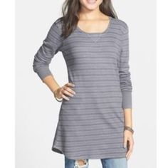"""PROJECT SOCIAL T THERMAL TOP New never worn Project Social T. """"Quiet shade"""" gray tonal stipe pattern in comfy waffle woven tunic. Raw edge details at neckline. Approx 30"""" length shoulder to hem. 34% rayon, 26% modal, 10% polyester, 4% spandex. Long sleeves. Rubbed cuffs. ❌❌NO TRADES NO PP PLEASE DO NOT ASK❌❌ Project Social T Tops"""