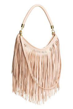 Pink Blush Shoulder Bag With Fringe