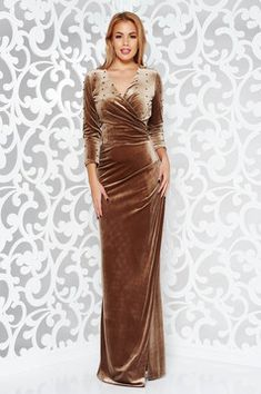 Artista brown occasional wrap around dress from velvet with small beads embellished details Hijab Dress Party, Hijab Wedding Dresses, Formal Dresses, Wrap Around Dress, Baptism Dress, Latest African Fashion Dresses, Mode Hijab, Dress Cuts, Occasion Dresses
