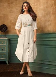 Latest indian party wear kurti for women. Shop online in india, uk, usa, canada. Grab this cotton satin thread work work party wear kurti. Simple Kurti Designs, New Kurti Designs, Kurta Designs Women, Kurti Designs Party Wear, Designs For Dresses, Design Of Kurti, Frock Style Kurti, Fancy Kurti, White Embroidered Dress