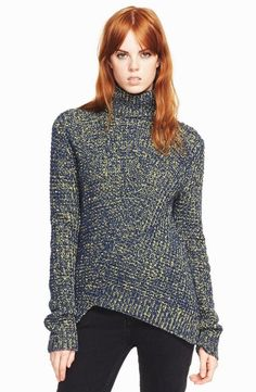 MARC BY MARC JACOBS ASYMMETRICAL TURTLNECK SWEATER M Wool Chunky Knit Pullover #MarcbyMarcJacobs #TurtleneckMock #Any