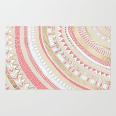 Coral + Gold Tribal Rug by Tangerine-Tane - $28.00