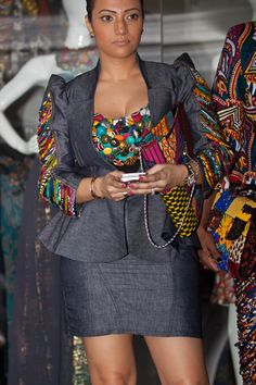 c33c732e45 ~Awesome denim and african print blazer and skirt suit