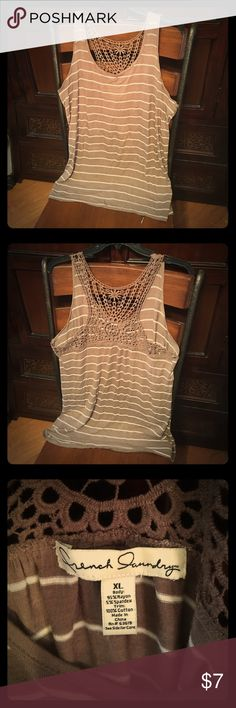 Striped racer back crochet detail tank top Really soft material, feels like wearing air! Worn a handful of times, doesn't really fit with the rest of my wardrobe. Crochet detail is in perfect shape. French Laundry Tops Tank Tops