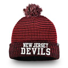 c0a67abfc20 Men s New Jersey Devils Fanatics Branded Red Black Waffle Heavy Cuffed Knit  Hat With Pom
