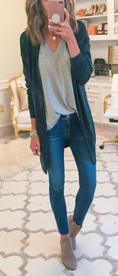 #winter #outfits black cardigan, gray v-neck shirt, whiskered blue jeans, and gray boots outfit