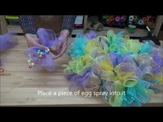 How to make an Easter Deco Mesh Wreath - Spring Deco Mesh Wreath - YouTube