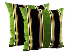 Pair Striped Outdoor Pillows Green Black set of two 2 patio | Etsy Patio Furniture Cushions, Outdoor Chair Cushions, Outdoor Fabric, Outdoor Chairs, Outdoor Pillow Covers, Decorative Pillow Covers, Custom Valances, Pillowcases & Shams, Bird Prints