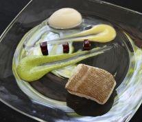 Baccalà con citronette, salsa di patate e zucchine e sorbetto al timo Chef G. Montefiori e A.Biagi