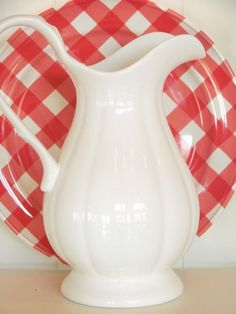 Love the checkered plate and sweet white pitcher (from Sugar Pie Farmhouse)