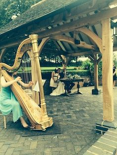 Wedding at Wethele Manor in Warwickshire, Michelle Dalton playing the harp Magical Wedding, West Midlands, Harp, Corporate Events, Birmingham, Pergola, Wedding Venues, England, Outdoor Structures