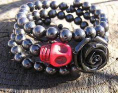 The Original Day of the Dead Sugar Skull Bracelet 3 Loops Wrap Around Memory Wir #donnaelizabethdesign #Beaded