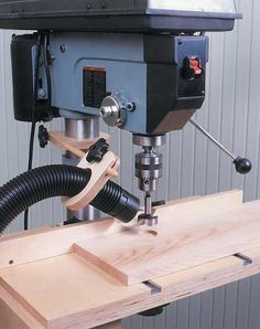 Drill Press Dust Collector Woodworking Plan, Workshop & Jigs Dust Collection Wor… – Famous Last Words Woodworking Drill Press, Learn Woodworking, Woodworking Workshop, Woodworking Techniques, Popular Woodworking, Woodworking Bench, Woodworking Crafts, Woodworking Articles, Woodworking Basics