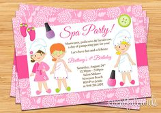 Little Girls Spa Birthday Party Ideas | Spa Party Kids Birthday Invitation by eventfulcards on Etsy