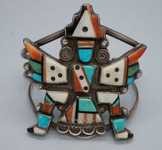 Early Zuni Knifewing Bracelet Sterling Silver Mosaic Inlay RXXX Native American #Handmade
