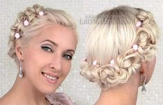 Romantic updo for short to medium long hair with a retro feel to it https://www.youtube.com/watch?v=IWMayz7W5A4 Perfect for prom, wedding or any special occasion when you need to look like you just went to a salon!
