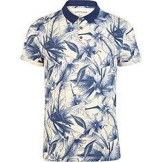 Blue floral print polo shirt - polo shirts - t-shirts / vests - men