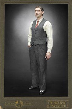 College vest HERRINGBONE HENRY grey wool Vecona Vintage swing dance lindy hop 1930 30s on Etsy, $221.60