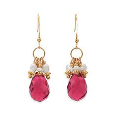 14/20 gold filled french wire drop earrings with red glass briolette and 3mm cultured freshwater pearls. The red glass briolette is approximately 10mm x 17mm and earrings hang 37mm.