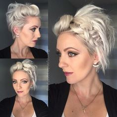 """Working late tonight so here's a sneak peak of today's #shorthairtutorialmonday. I'll call it """"2 poofs and a Dutch braid"""". Full video will be uploaded tonight on my YouTube channel. #shorthair #shorthair_love #shorthairideas #shorthairstyles #nothingbutpixies #pixiestyles #dutchbraid #poofs #dirtyhairdiaries #dirtyhair #shorthairtutorial #instahair #hairofinstagram #behindthechair #modernsalon #americansalon #gilbertsalon #emilyandersonstyling"""