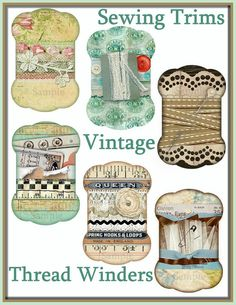 Each of these SIX Diecut Thread Winder Tags features Collages of Vintage Sewing trims like Antique Laces, RicRac, Embroidered Apppliques, Tulle,