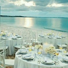 Your wedding reception set in front of your private beach rental. - Every detail perfectly attended to by Coastal Soirees