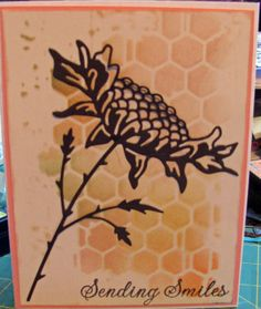 Memory Box Texture Honey Comb stencil and Poppy Stamps Bountiful Sunflower.  Hero Arts sentiment