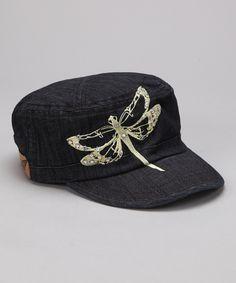 Denim Dragonfly Newsboy Cap <3