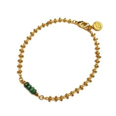 € 16,50 Armband goud geschakeld Green jade bracelet Armcandy designed in Amsterdam