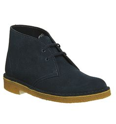 Clarks Originals Desert Boots Navy Suede Natural Sole - Ankle Boots