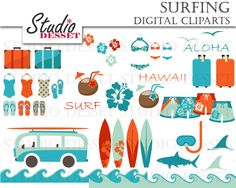 Surfin Fun Clipart, Surfing Clip Art, Summer Cliparts, Travel, Beach Flip Flops, Vacation Illustrations C290 by StudioDesset on Etsy