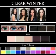 62 super Ideas hair color chart deep winter 62 super Ideas hair color chart d Deep Winter Palette, Deep Winter Colors, Deep Autumn, Clear Winter, Dark Winter, Silver Purple Hair, Color Type, Colour, Winter Typ