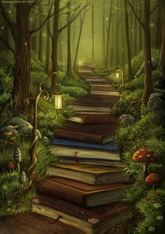Kunst Zeichnungen - The Reader's Path - Awesome Art Pins Fantasy Kunst, Fantasy Art, Fantasy Forest, Fantasy Places, Wall Prints, Canvas Prints, Canvas Artwork, Inspiration Art, Painted Books